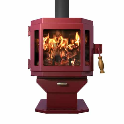 Mojave Red Catalyst Wood Stove with Charcoal Door and Room Blower Fan