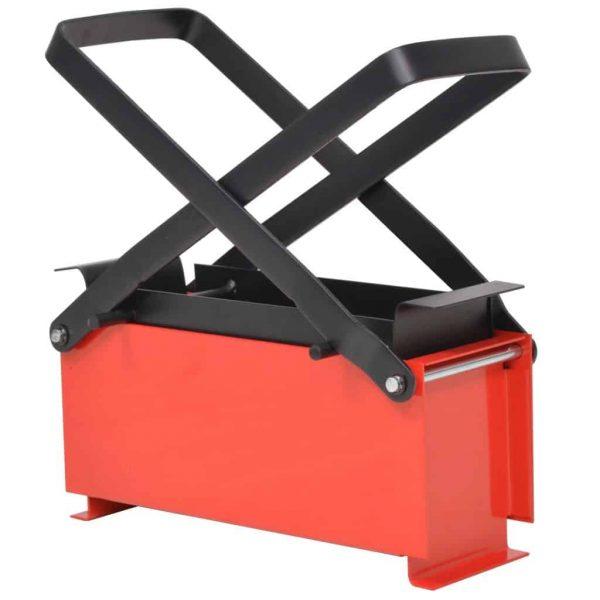 "Moksha Paper Log Briquette Maker Steel 13.4""x5.5""x5.5"" Black and Red"