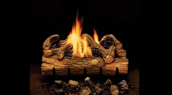 """Monessen 24"""" Charred Hickory Ventless Natural Gas Log Set with On/Off Remote Pilot Kit"""