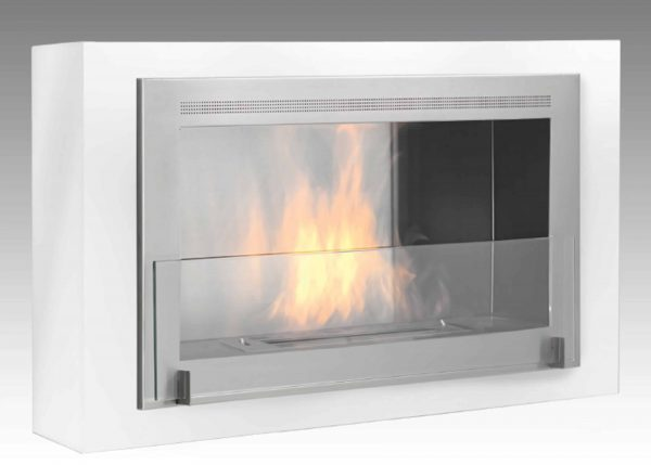 Montreal Wall Mounted Fireplace in Gloss White with Stainless Steel Interior Things Are Heating Up