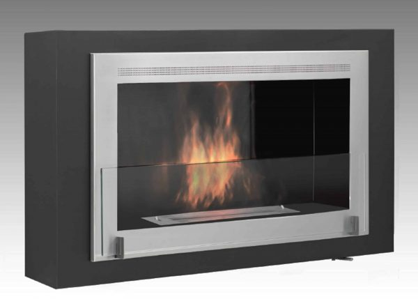 Montreal Wall Mounted Fireplace in Matte Black with Stainless Steel Molding