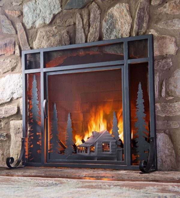 Mountain Cabin Small Fireplace Fire Screen with Door