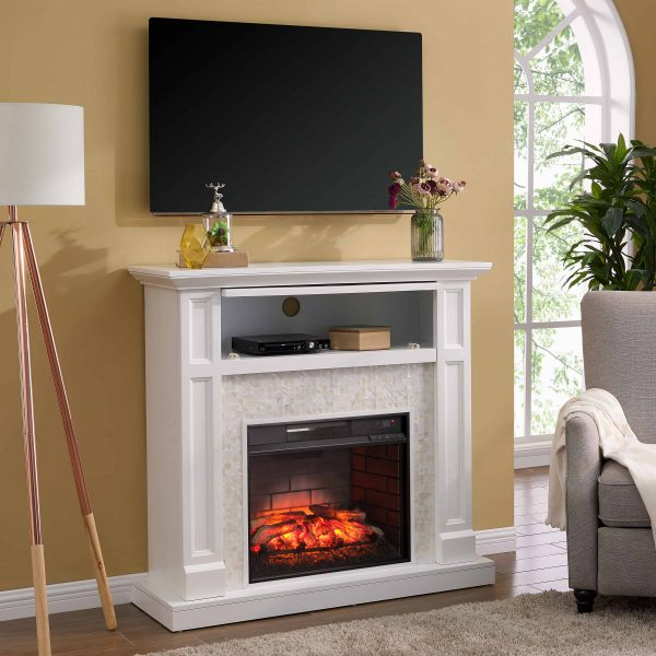 Naplio Tiled Media Fireplace Console