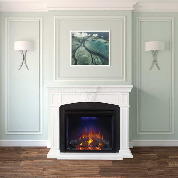 """Napoleon NEFP33-0214 White Taylor 9000 BTU 55"""" Wide Free Standing Electric Fireplace From 1"""