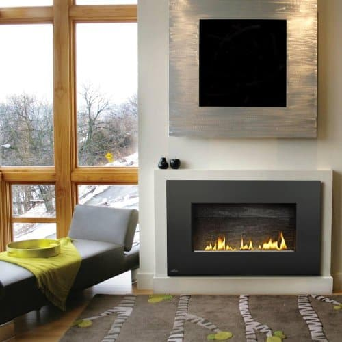 Napoleon Plazmafire Vent Free Wall Mount Natural Gas Fireplace With Painted Black Rectangular Surround 1