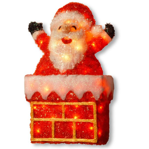 """National Tree 24"""" Tinsel Santa on Chimney with 40 Clear Lights 1"""
