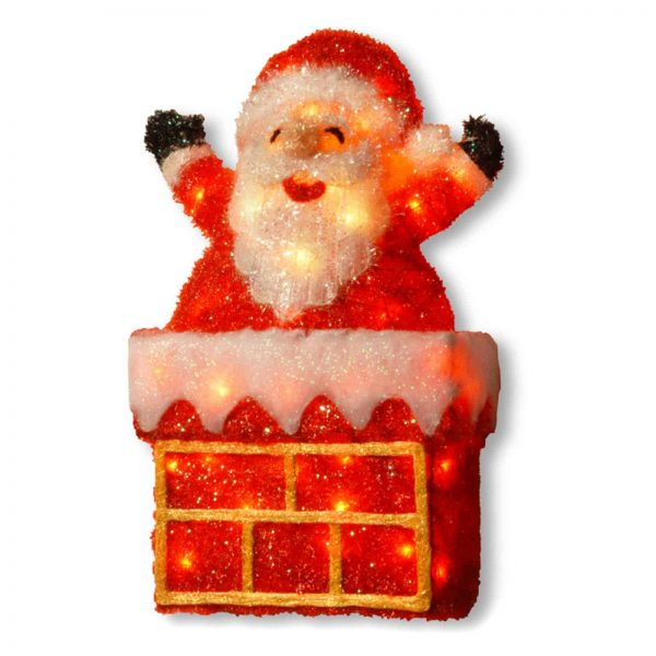 """National Tree 24"""" Tinsel Santa on Chimney with 40 Clear Lights"""