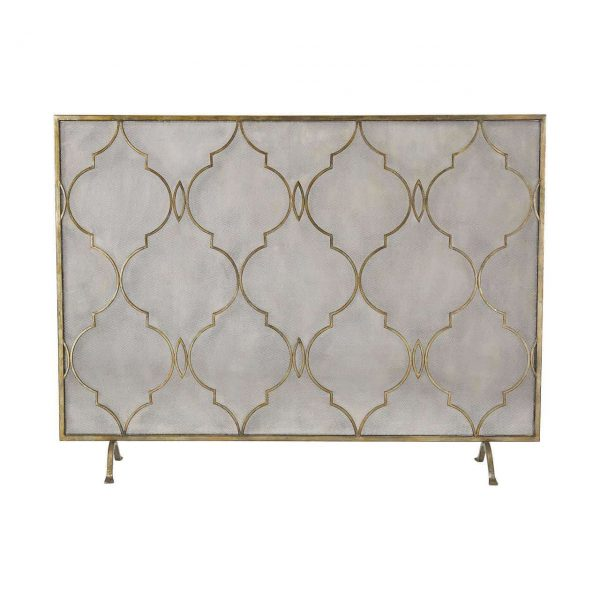 New Product Agra Antique Gold 34-Inch Metal Fire Screen 351-10247 Sold by VaasuHomes