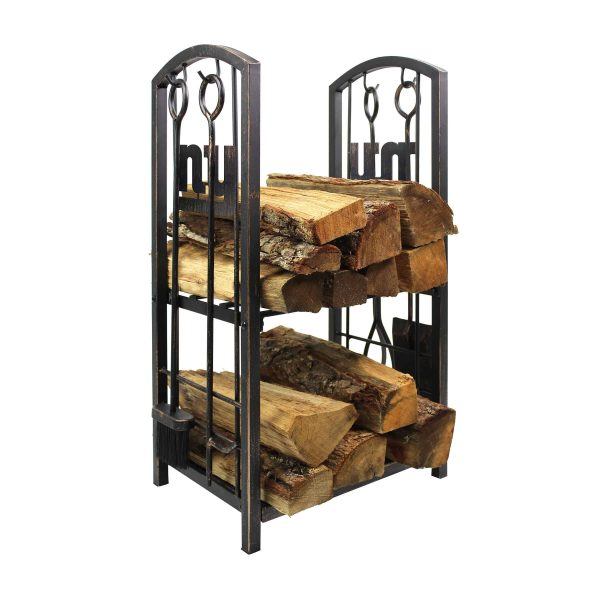 New York Giants Imperial Fireplace Wood Holder & Tool Set - Brown 1