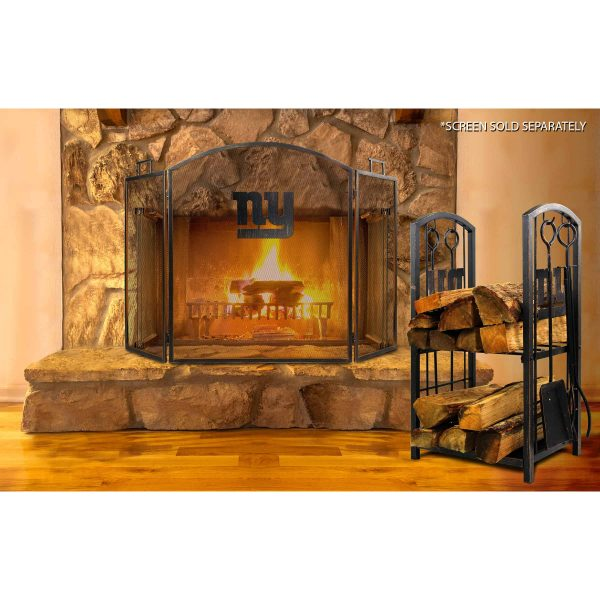 New York Giants Imperial Fireplace Wood Holder & Tool Set - Brown 2