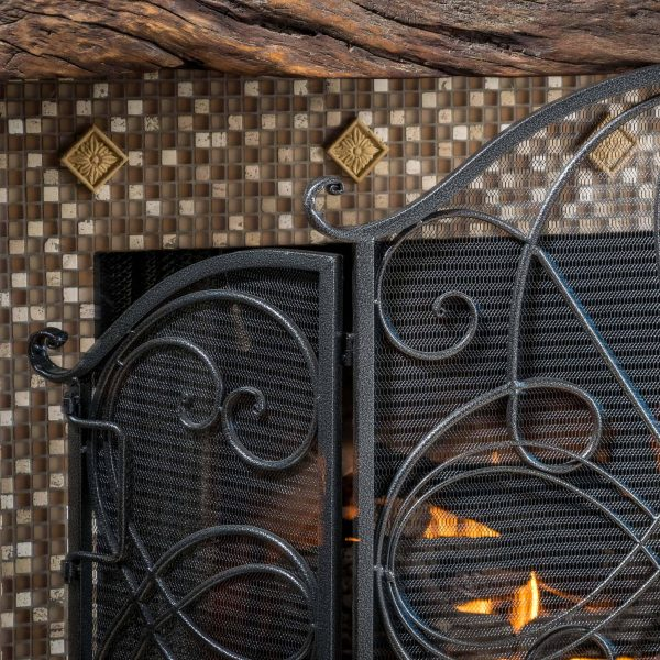 Noble House Christopher Iron Fireplace Screen, Silver Flower on Black 1