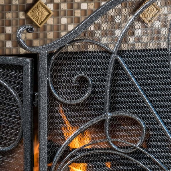 Noble House Christopher Iron Fireplace Screen, Silver Flower on Black 2