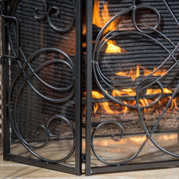 Noble House Christopher Iron Fireplace Screen, Silver Flower on Black 3