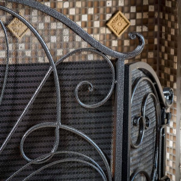 Noble House Christopher Iron Fireplace Screen, Silver Flower on Black 4