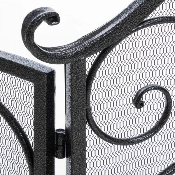 Noble House Christopher Iron Fireplace Screen, Silver Flower on Black 5