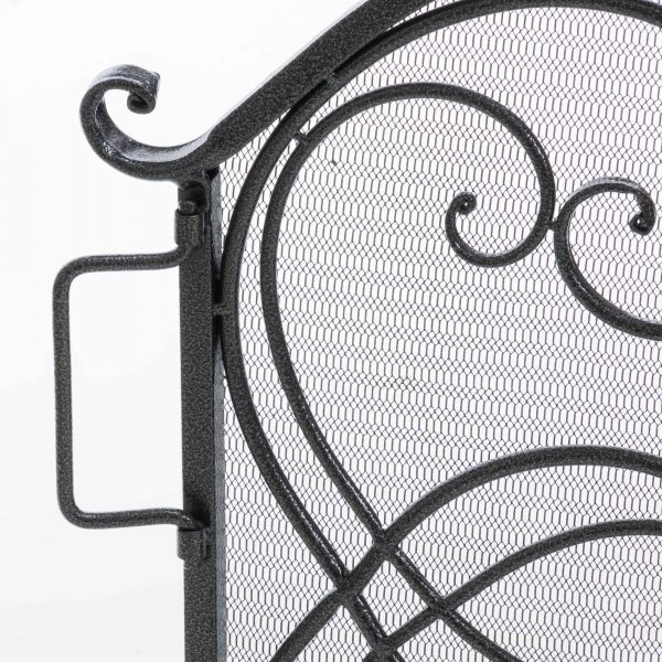Noble House Christopher Iron Fireplace Screen, Silver Flower on Black 7