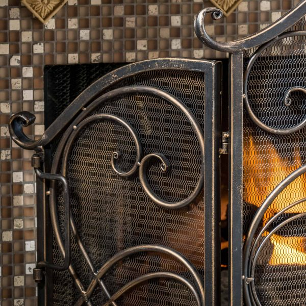 Noble House KeatonFireplace Screen Color gold flower on black 1