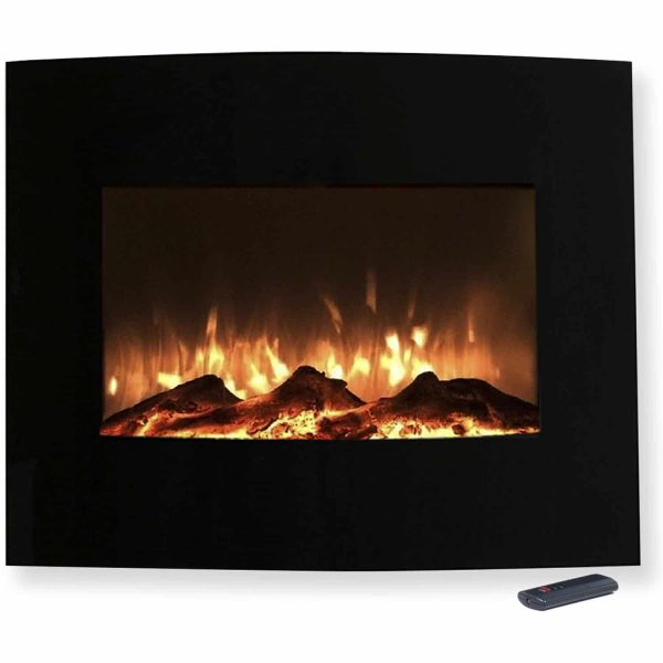 "Northwest 25"" Mini Curved Black Electric Indoor Fireplace with Wall and Floor Mount 1"