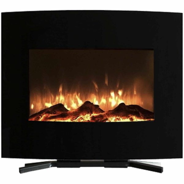"Northwest 25"" Mini Curved Black Electric Indoor Fireplace with Wall and Floor Mount 2"