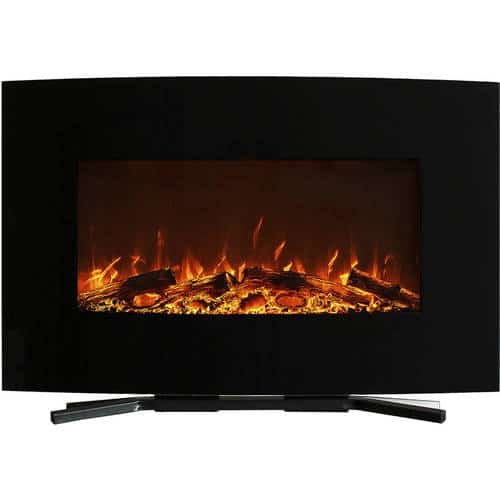 Northwest 36 inch Curved Color Changing Wall Mounted Electric Fireplace, includes Floor Stand 1