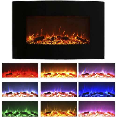 Northwest 36 inch Curved Color Changing Wall Mounted Electric Fireplace, includes Floor Stand 2