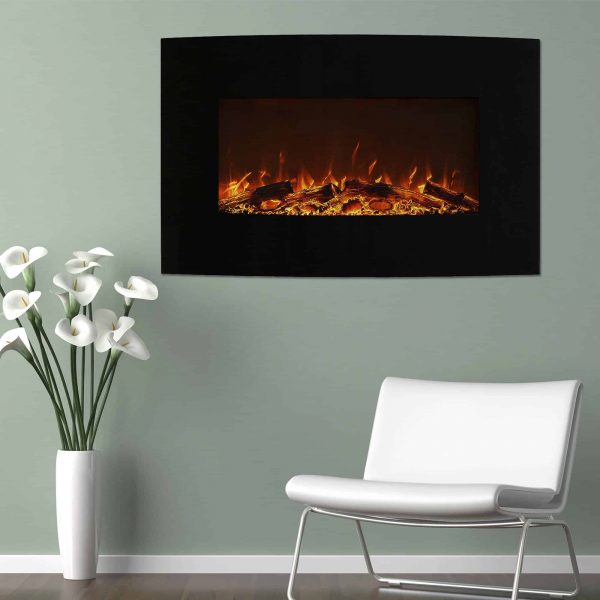 Northwest 36 inch Curved Color Changing Wall Mounted Electric Fireplace