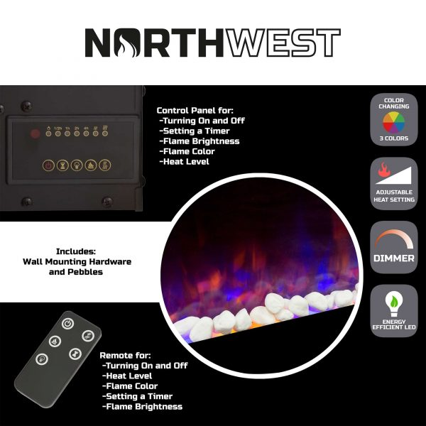 Northwest 36 inch Wall Mounted Electric Fireplace, LED Fire and Flame Effect 1