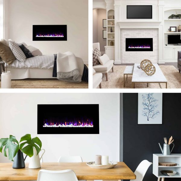 Northwest 36 inch Wall Mounted Electric Fireplace, LED Fire and Flame Effect 2