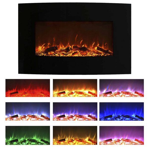 "Northwest 36"" Curved Color Changing Fireplace Wall Mount Floor Stand 3"