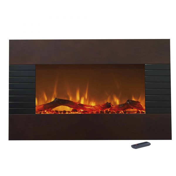 "Northwest 36"" Mahogany Fireplace with Wall Mount & Floor Stand 1"