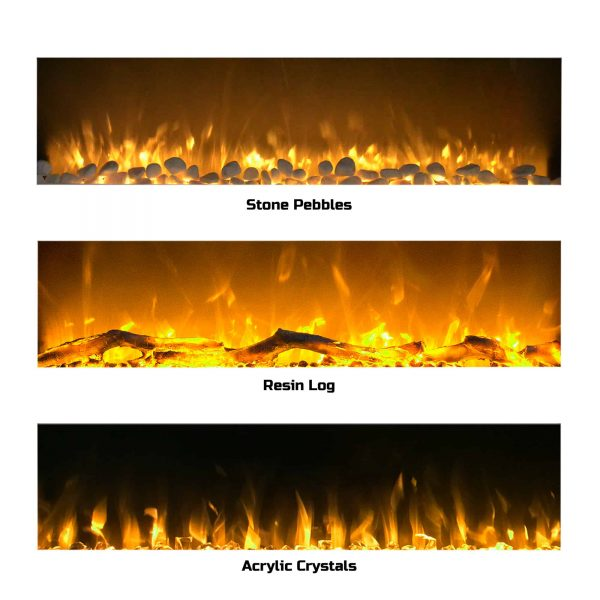 Northwest 50 inch Wall Mounted Electric Fireplace with Color Changing LED, White 9