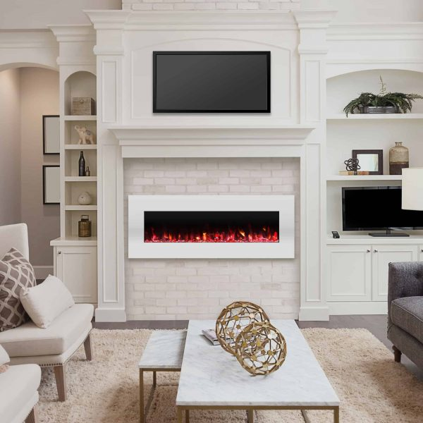 Northwest 50 inch Wall Mounted Electric Fireplace with Color Changing LED, White 3
