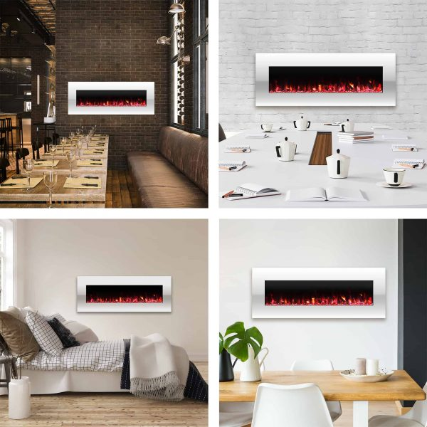 Northwest 50 inch Wall Mounted Electric Fireplace with Color Changing LED, White 4