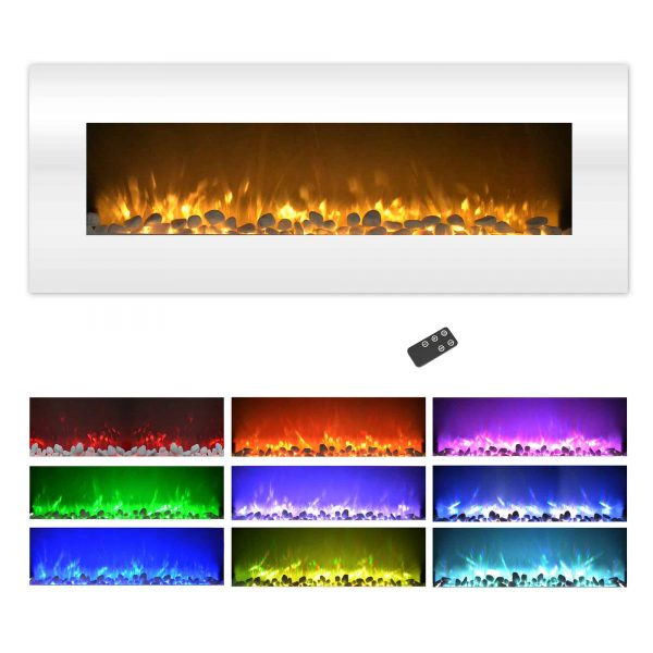 Northwest 50 inch Wall Mounted Electric Fireplace with Color Changing LED, White 7
