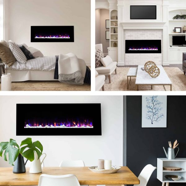Northwest 54 inch Electric Wall Mounted Fireplace with Fire and Ice Flames 4