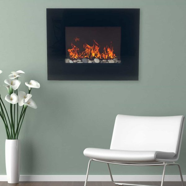Northwest Electric Fireplace 26 in. Wall Mount with Black Glass Panel