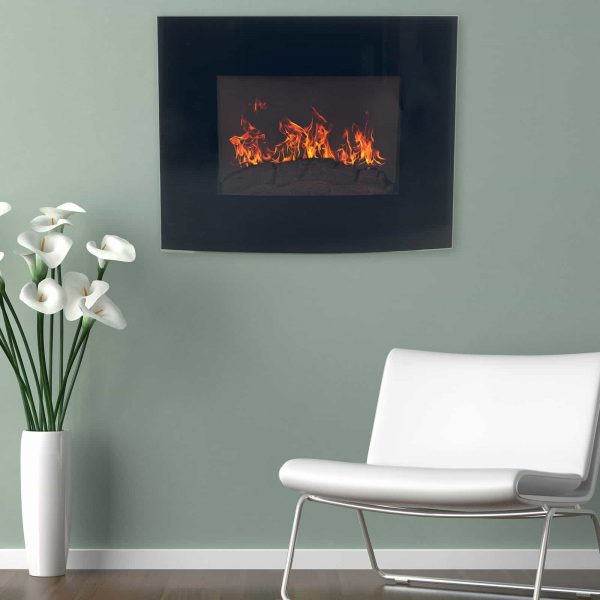 Northwest Electric Fireplace 35 in. Wall Mount with Black Curved Glass Panel