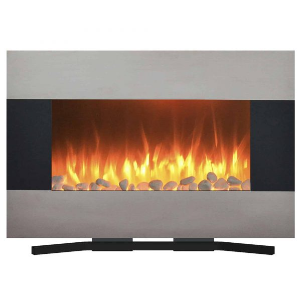Northwest Stainless Steel 36 inch Wall Mounted Electric Fireplace, Includes Floor Stand and Remote 1