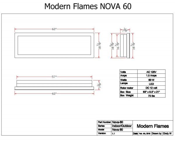 Nova Indoor/ Outdoor Electric Fireplace W/ Black Stainless Face 2
