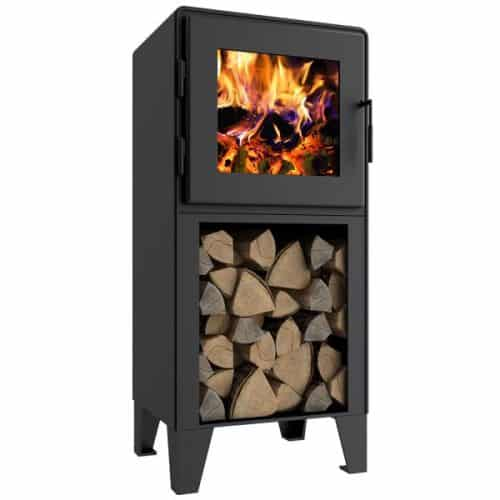 Nova Tower Wood Stove w/Satin Black Door