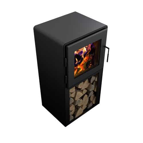 Nova Tower Wood Stove with Satin Black Door and Shroud 1