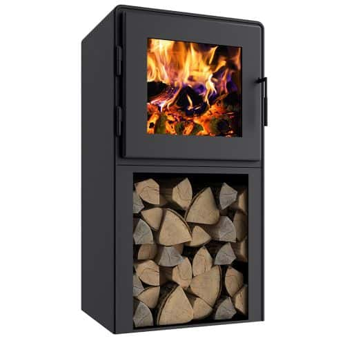 Nova Tower Wood Stove with Satin Black Door and Shroud