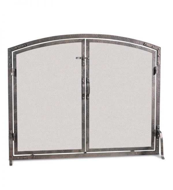 """Old World Forged Iron Arched Door Fireplace Screen 42""""W x 34""""H"""