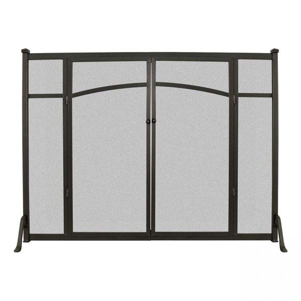 Open Hearth Flat Panel Fireplace Screen with Doors 1