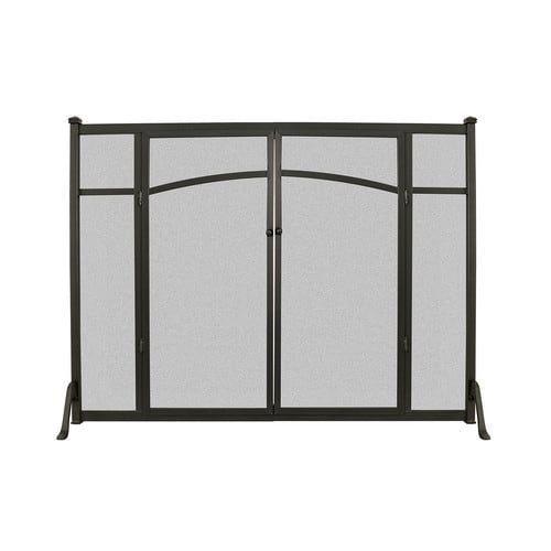 Open Hearth Flat Panel Fireplace Screen with Doors