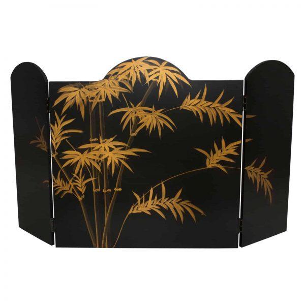 Oriental Furniture Black Landscape Lacquer Fireplace Screen 1
