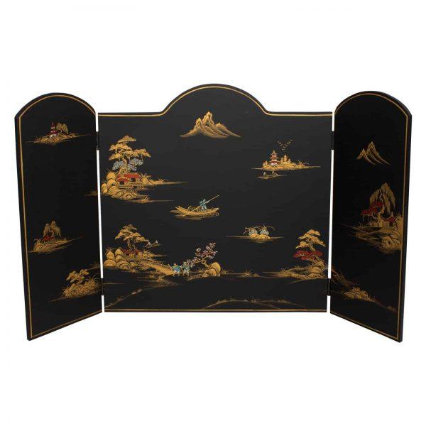 Oriental Furniture Black Landscape Lacquer Fireplace Screen