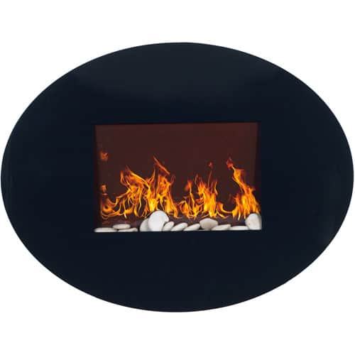 Oval Glass Electric Indoor Fireplace with Wall Mount by Northwest 1