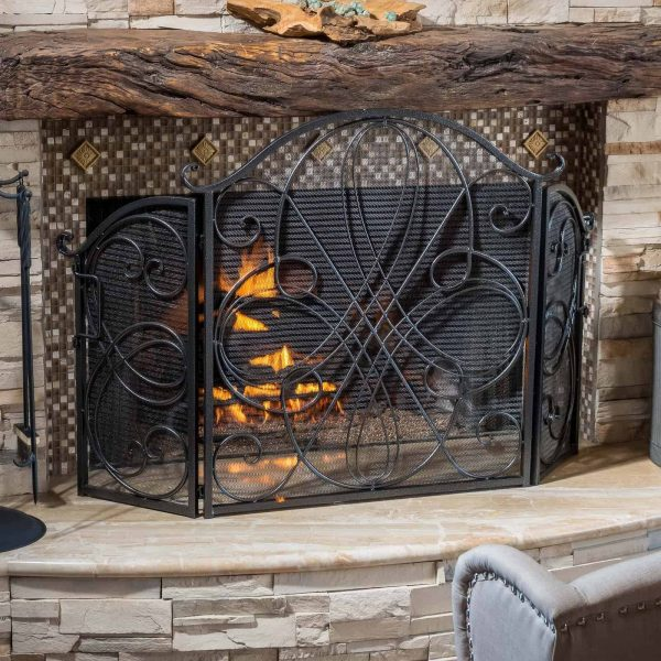 Oxford 3 Panel Iron Fireplace Screen 1