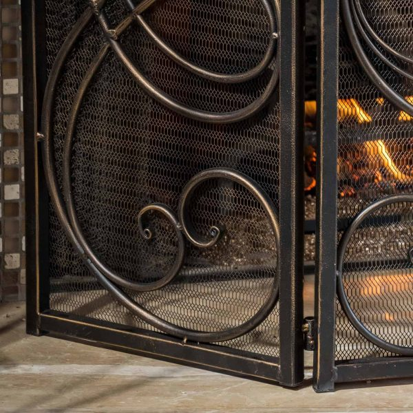 Oxford 3 Panel Iron Fireplace Screen 3